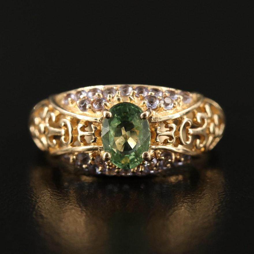14K Sapphire and Tanzanite Openwork Ring