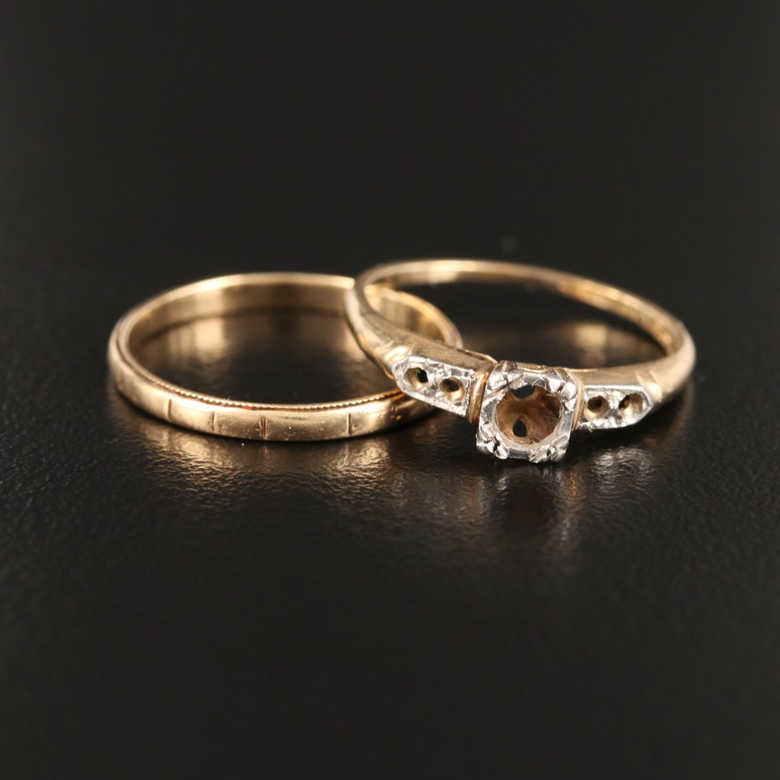 14K Scrap Ring and Band