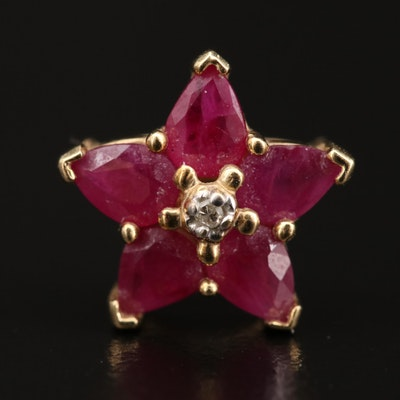 10K Ruby and Diamond Star Shaped Pendant