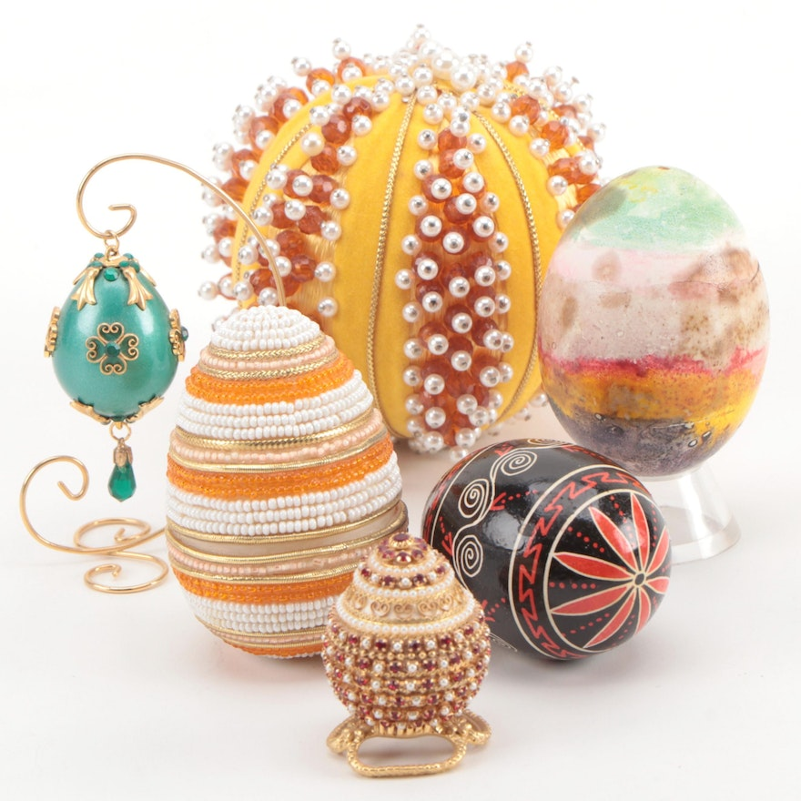 Embellished and Painted Egg Decor