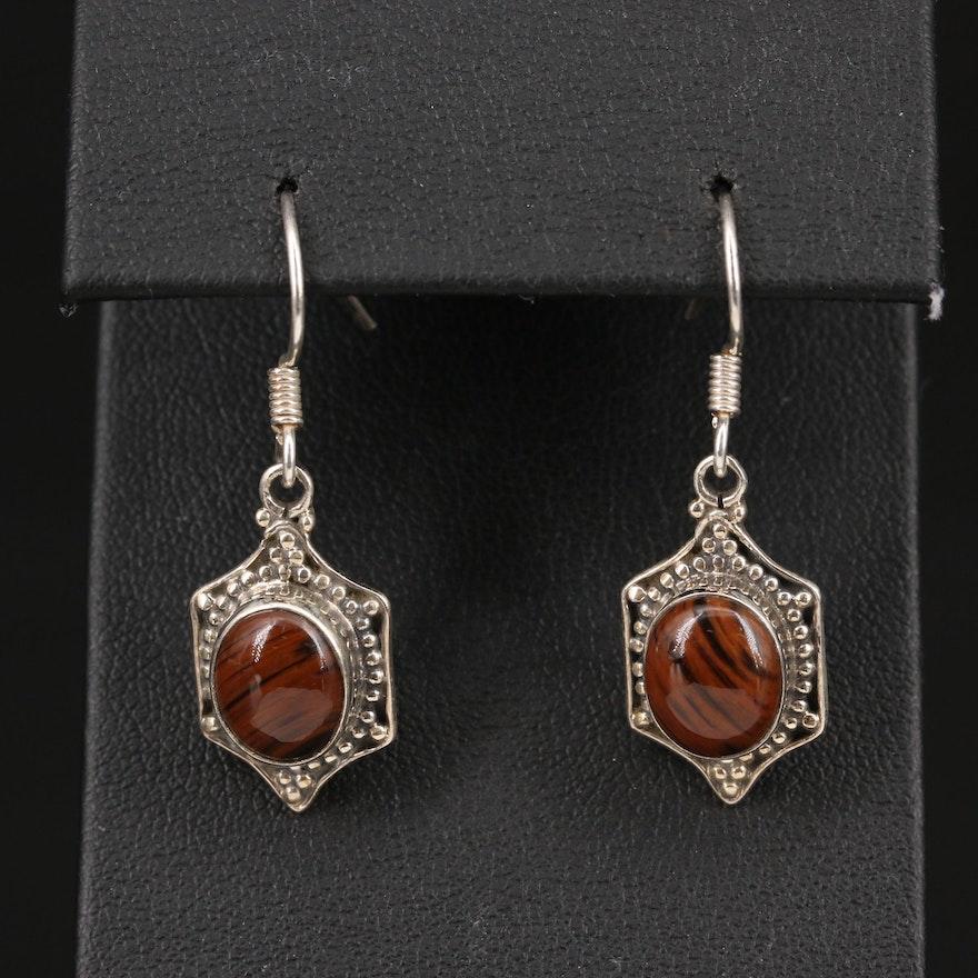 Sterling Silver Mahogany Obsidian Drop Earrings