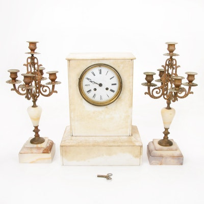 Japy Freres Marble Clock with Mantel Candelabra Garniture, Antique