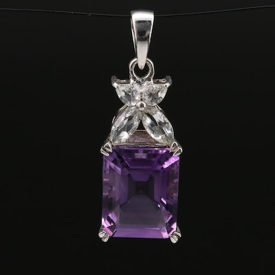 Sterling Silver Amethyst and Topaz Pendant