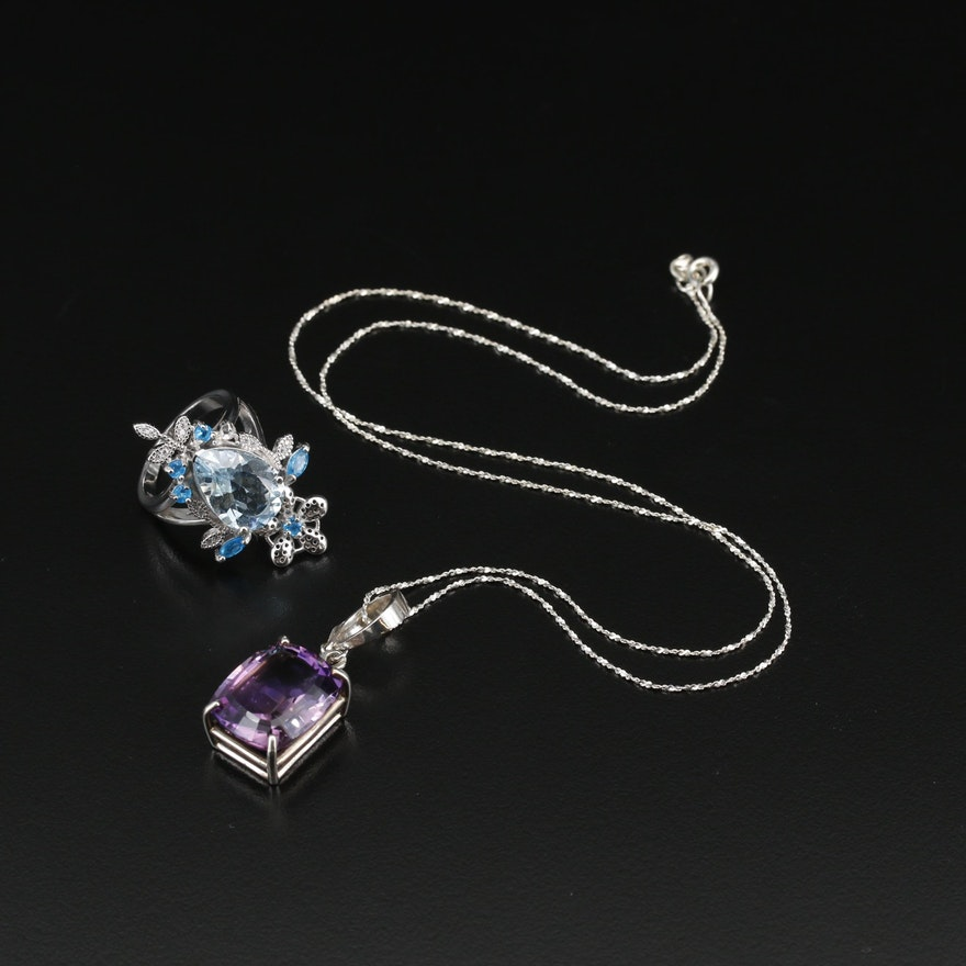 Sterling Silver Pendant Necklace and Ring Featuring Topaz, Apatite and Amethyst