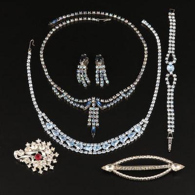 Vintage Rhinestone Jewelry Including Hair Barette