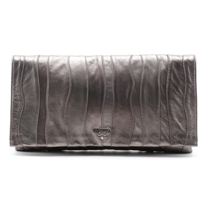 Prada Large Clutch in Gunmetal Mettalic Pieced Leather