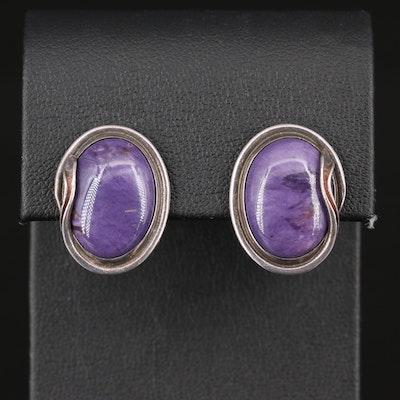 Sterling Silver Charoite Stud Earrings