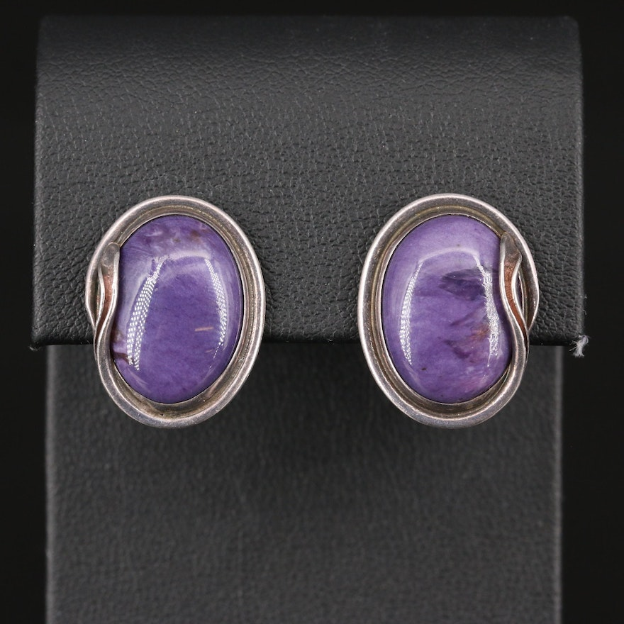 Sterling Silver Charoite Stud Earrings