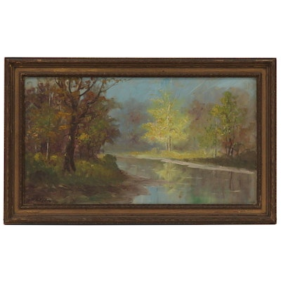 Oil Painting of Lake Landscape, 20th Century
