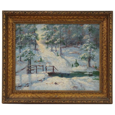Impressionist Style Oil Painting of Winter Landscape, 20th Century