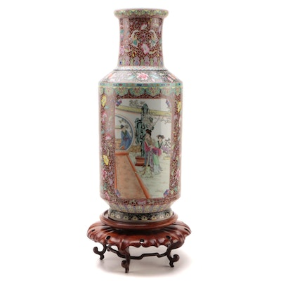 Chinese Porcelain Floor Vase with Carved Wood Stand, Late 20th Century