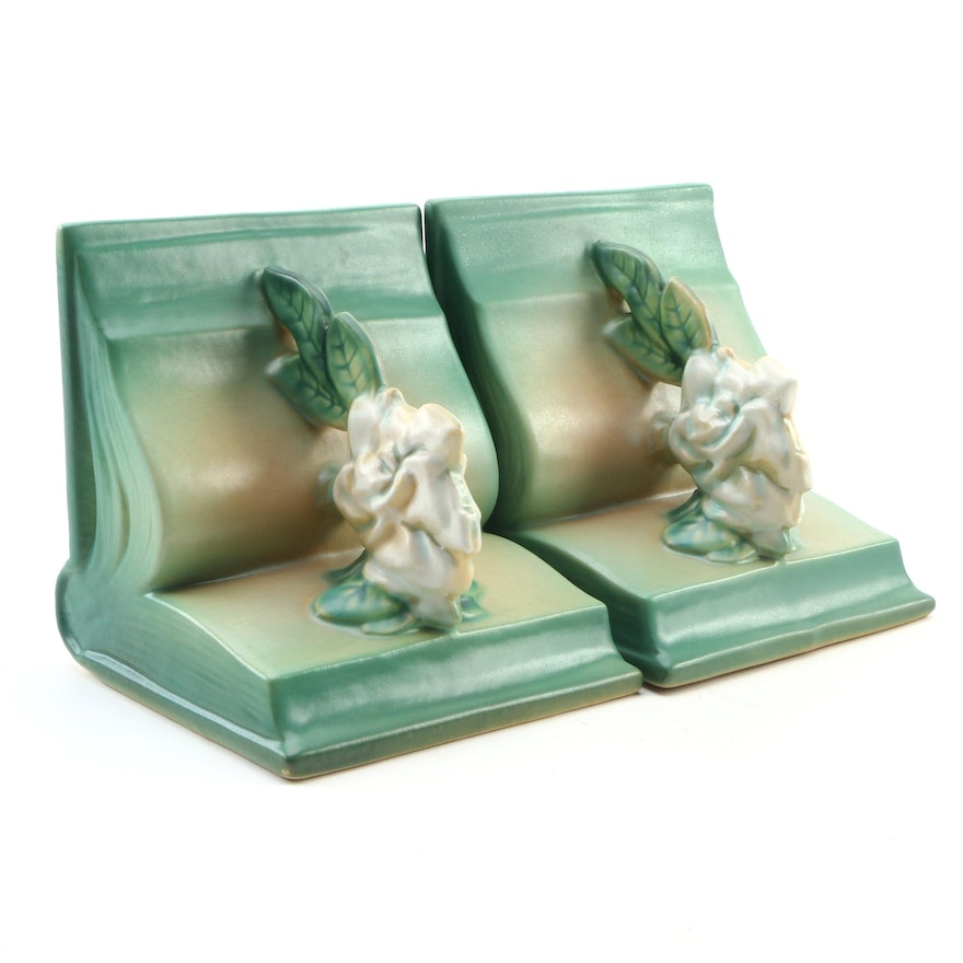"""Roseville Pottery Green """"Gardenia"""" Bookends, Mid-20th Century"""