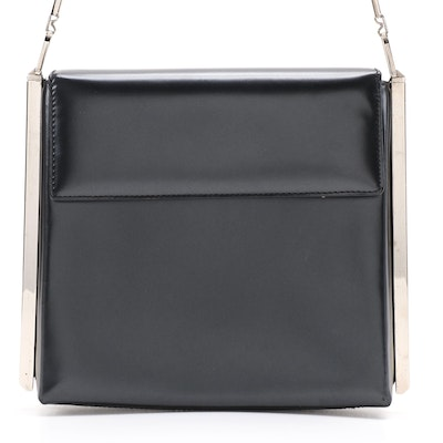 Salvatore Ferragamo Shoulder Bag in Glazed Black Box Calf Leather
