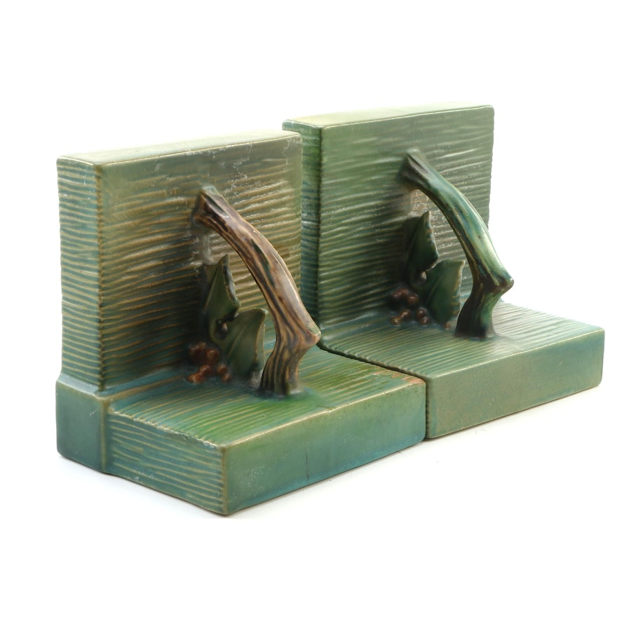 """Roseville Pottery Green """"Bushberry"""" Bookends, Mid-20th Century"""