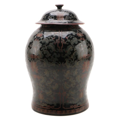 Chinese Lacquered Papier-Mâché Temple Jar, Late 20th Century