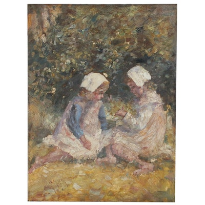 Impressionist Style Oil Painting of Figures, 20th Century
