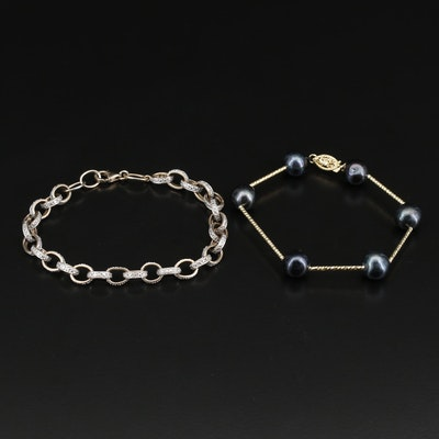 Bracelet Assortment with Sterling and Diamonds