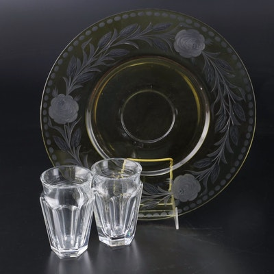 "Baccarat ""Tallyrand"" Crystal Highball Glasses and Bohemian Etched Yellow Platter"