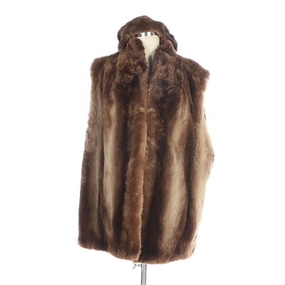 Phantom Sheared Beaver Fur Vest with Muff and Hat from Kastoria Furs, Vintage
