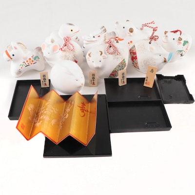 Chinese Zodiac Bisque Figurines and Miniature Décor