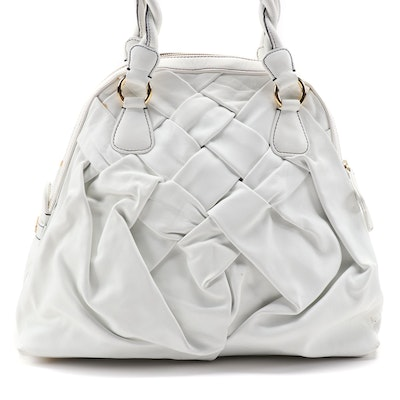 Valentino Garavani Woven White Calfskin Leather Bag with Twist Handles