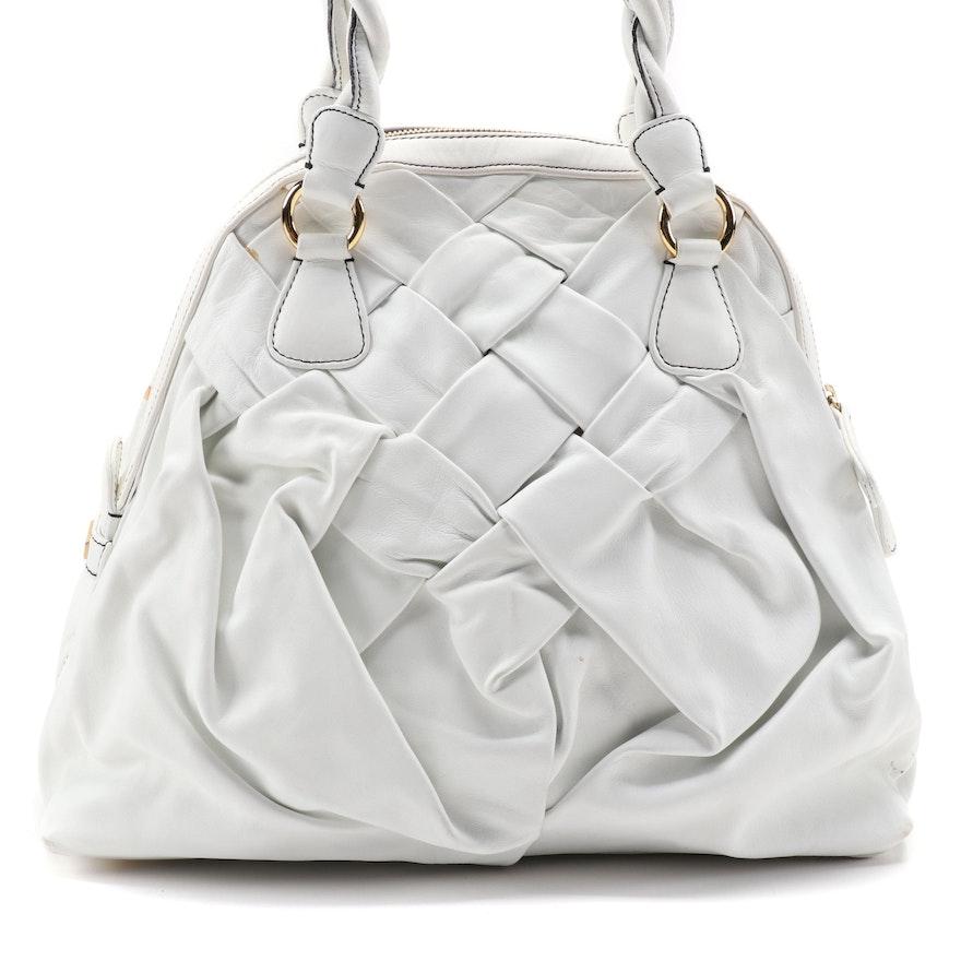 Valentino Garavani Woven White Calfskin Leather Bag with Twist Handles