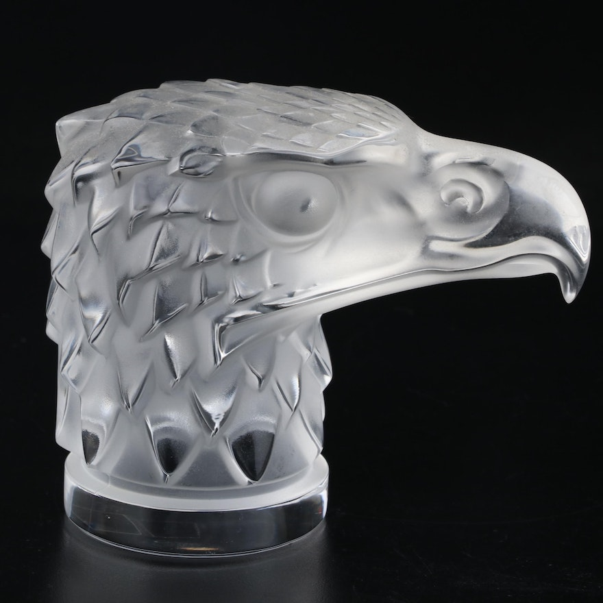 """Lalique """"Eagle Head"""" Clear and Frosted Crystal Paperweight"""