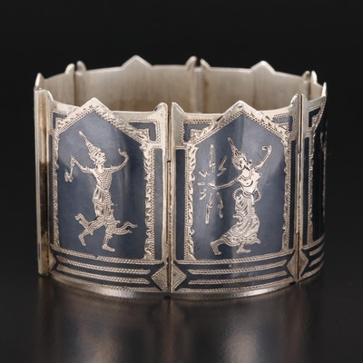 Thai Sterling Silver Niello Panel Bracelet