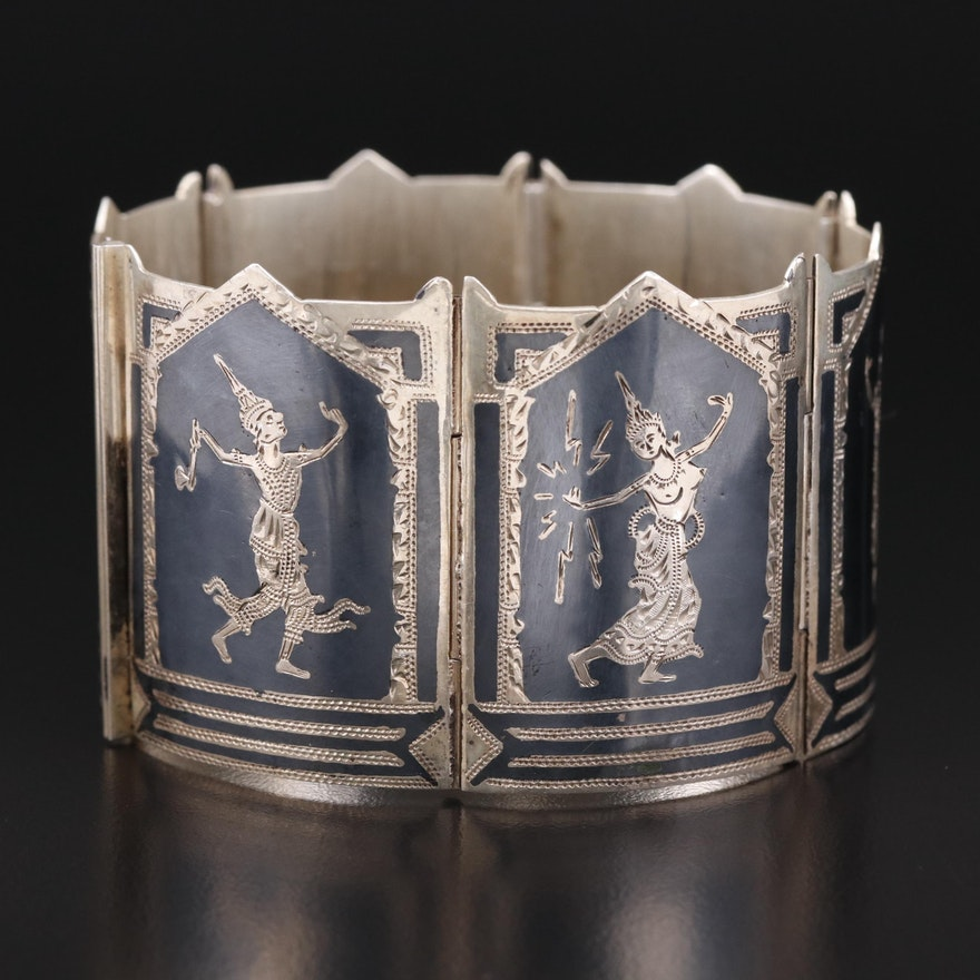 Thai Sterling Silver Niello Panel Bracelet