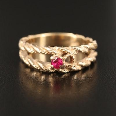 14K Ruby Twisted Rope Split Shoulder Ring