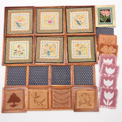 Embroidered and Woven Fabric Coasters with Wood Frames