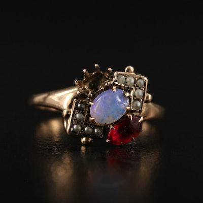 Circa 1910 10K Opal and Pearl Scrap Ring