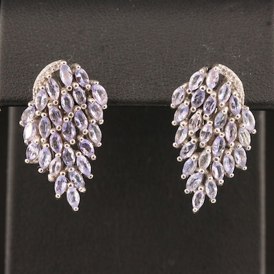 Sterling Silver Tanzanite and Cubic Zirconia Tapered Cluster Earrings