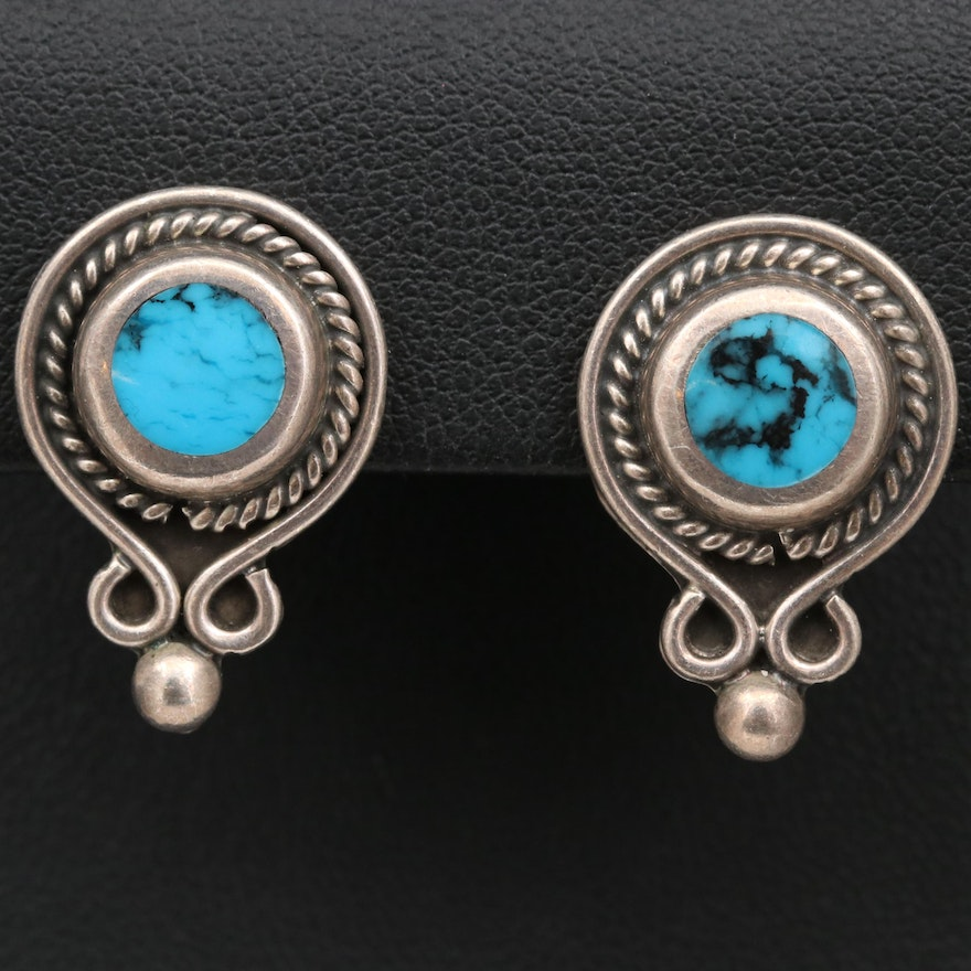 Sterling Silver Turquoise Button Earrings