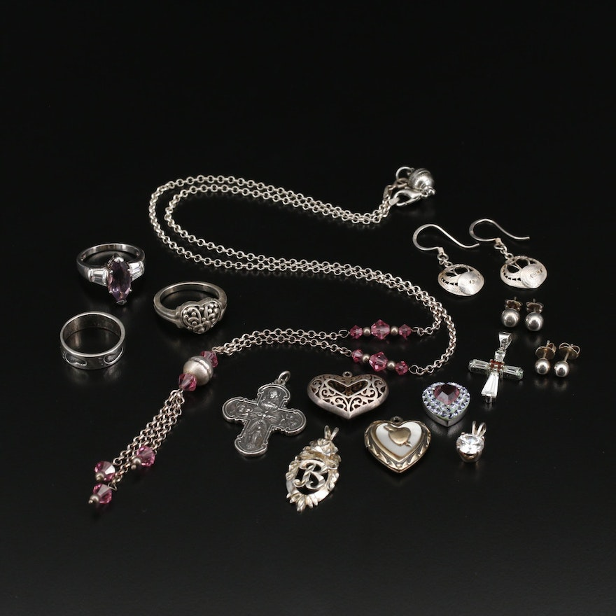 Assorted Jewelry Including Sterling Silver and Various Gemstones