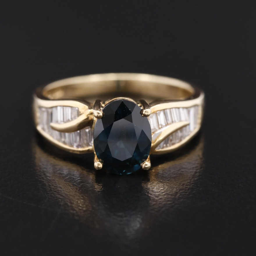 18K Sapphire Ring with Diamond Channel Set Shoulders