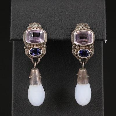 Sajen Sterling Amethyst , Iolite and Chalcedony Dangle Earrings