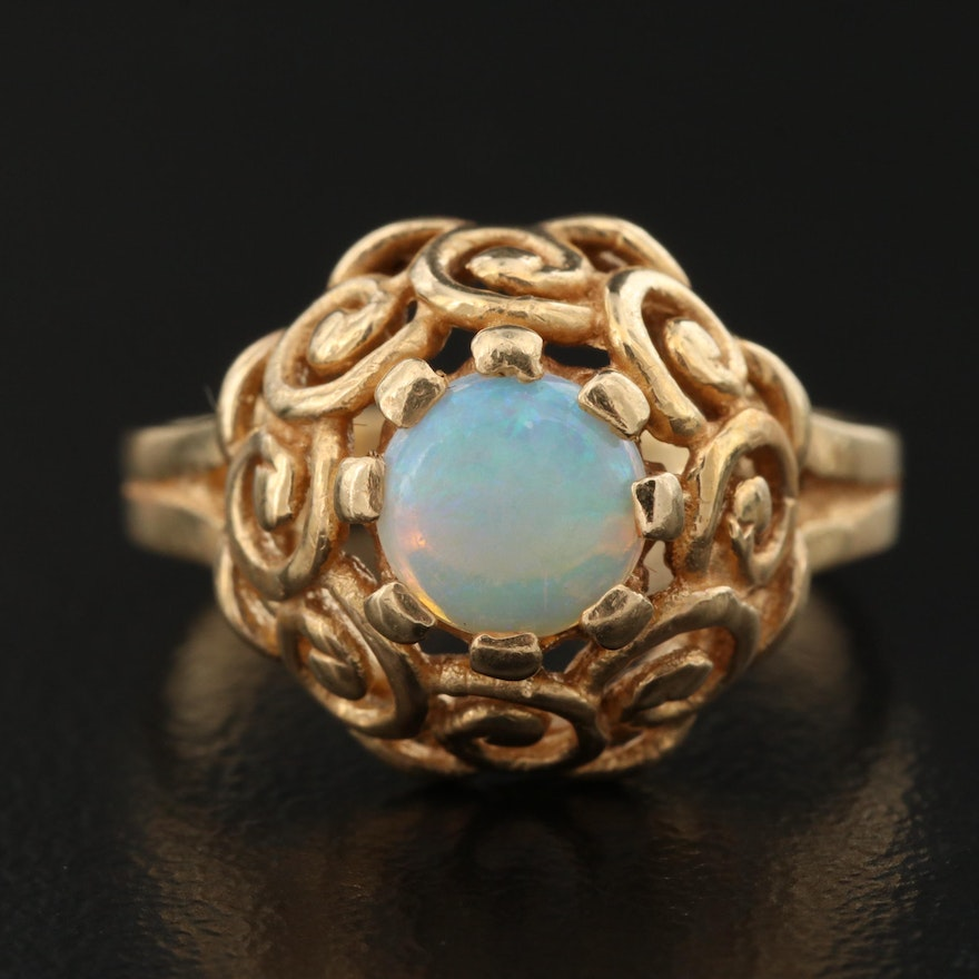 Vintage 14K Opal Ring with Scrolled Setting