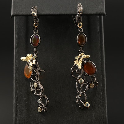 Sterling Opal and Topaz Scrolling Vine and Insect Motif Dangle Earrings