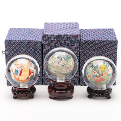 Chinese Reverse Painted Glass Orbs with Wood Stands