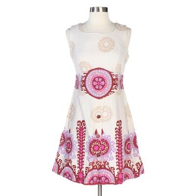 Kitan Printed Sleeveless Dress in Textured Sanforized Cotton, Vintage