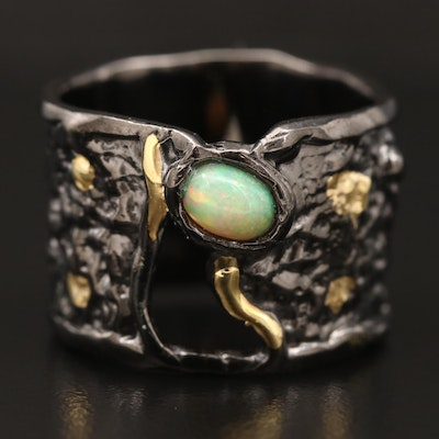Sterling Silver Opal Textured Cigar Band Ring
