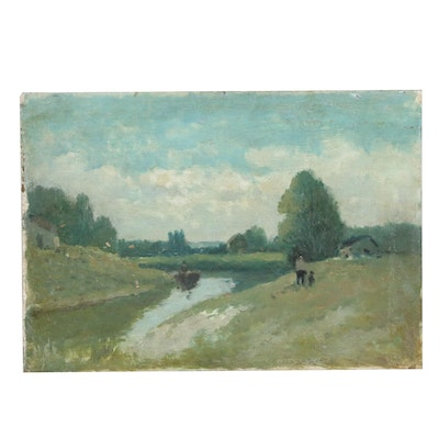 River Landscape Oil Painting, 20th Century