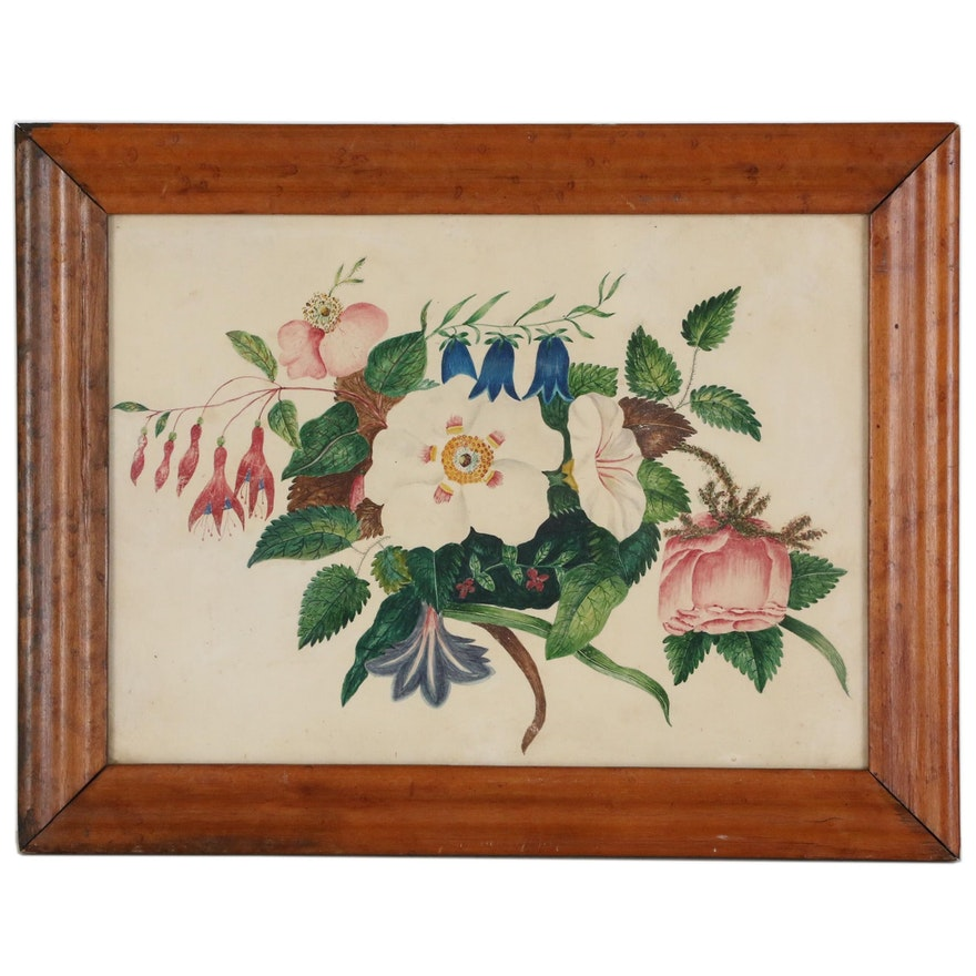 Floral Watercolor Painting, Late 20th Century