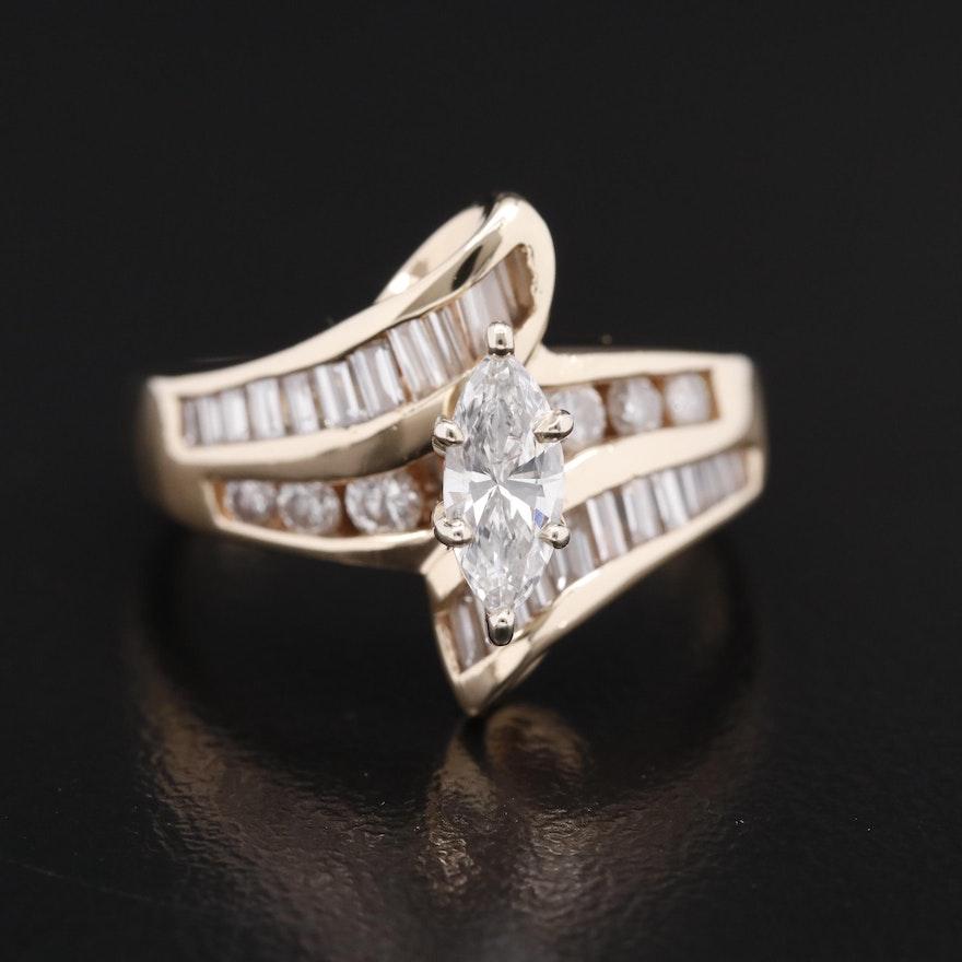 14K 1.10 CTW Diamond Bypass Ring
