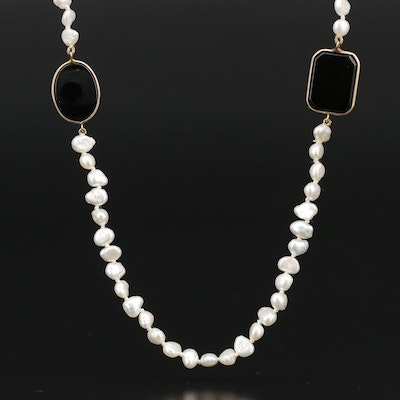 14K Black Onyx and  Pearl Beaded Station Necklace