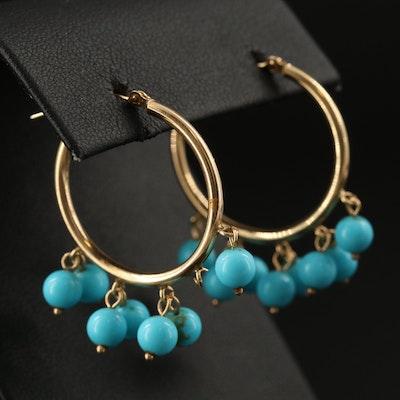 14K Hoop Earrings with Turquoise Dangles
