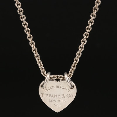 """Tiffany & Co. """"Return to Tiffany"""" Heart Pendant on Rolo Chain Necklace"""