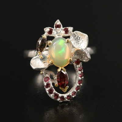 Sterling Opal, Garnet and Smoky Quartz Foliate Cluster Ring