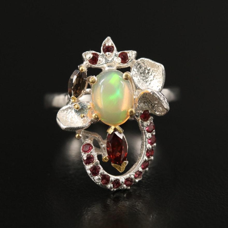 Sterling Opal, Garnet and Smoky Quartz Foliate Cluster Ring
